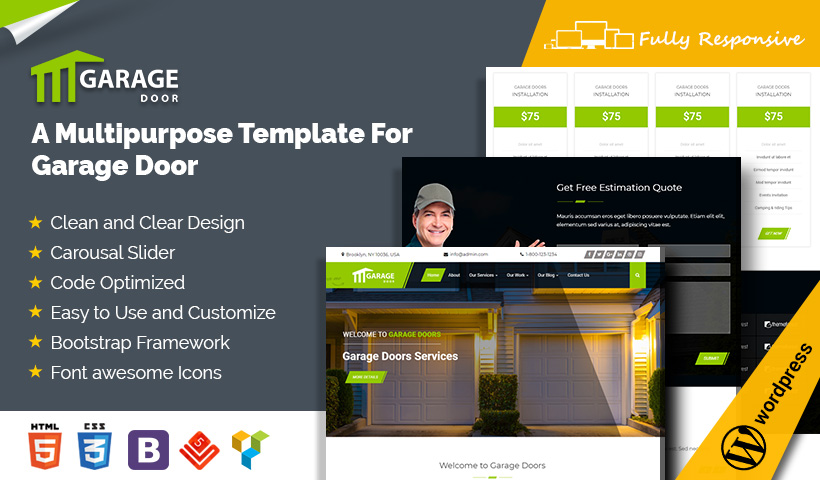 sc 1 st  eWebCraft & Garage Door WordPress Theme Garage Door Repair Template \u2013 eWebCraft